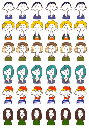 expresiones faciales: 6 mujeres 6 tipos de expresiones faciales
