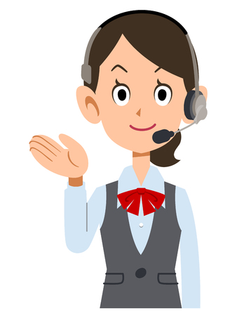 young businesswoman: Guide to female employees wear uniforms wearing a headset