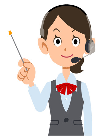 new employees: female employees wear uniforms wearing a headset with a pointing stick