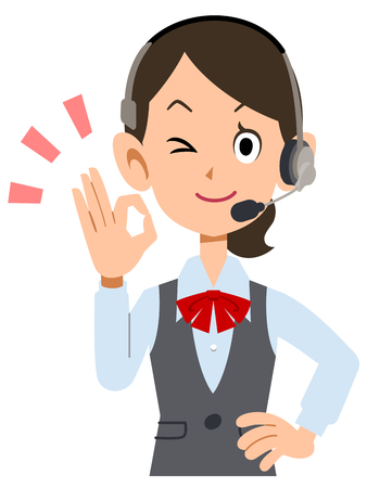 waist up: OK sign to show female employees wear uniforms wearing a headset