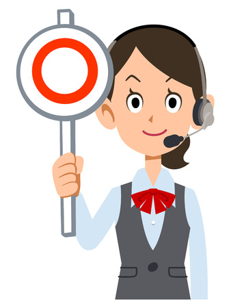 waist up: female employees wear uniforms wearing a headset in the correct tag Illustration