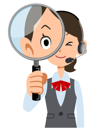 See female employees wear uniforms wearing a headset with a magnifying glass