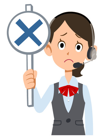 waist up: Show the incorrect tag female employees wear uniforms wearing a headset