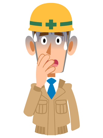 Pale male at a construction site Illustration