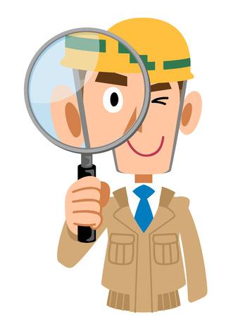 虫眼鏡でチェックする工事現場で男性
