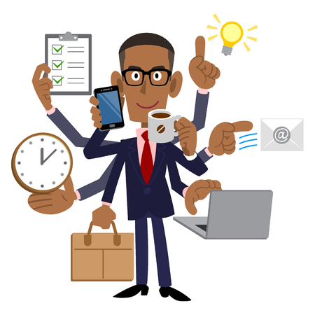 busy person: A successful businessman who black Illustration