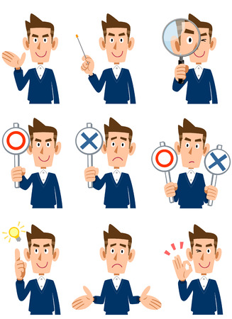 9 types of men gesture and facial expression Vectores