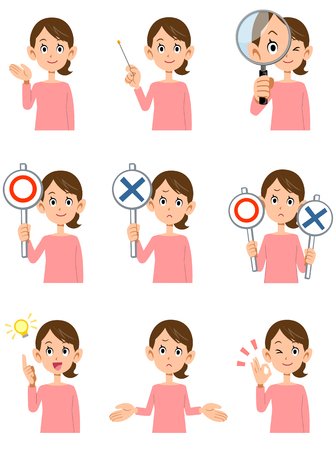 Nine women's gestures and facial expressions Stock Illustratie