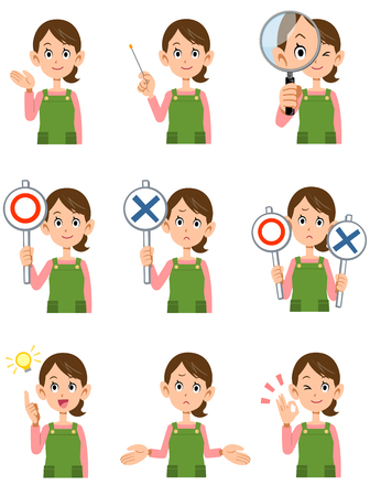 facial gestures: Housewife wearing an apron 9 different gestures and facial expressions