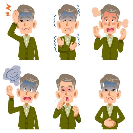 Symptoms of the disease of older men 6 Stock Illustratie