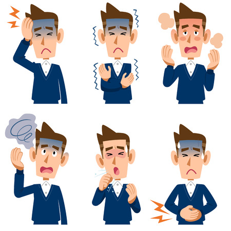 Symptoms of the disease for men 6 Stock Illustratie