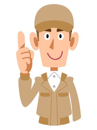 index finger: Raised his index finger work wear for men