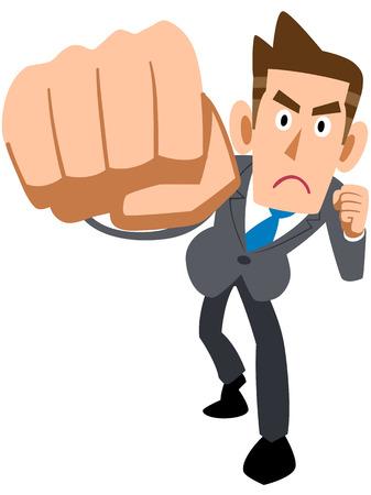 overwhelmed: Businessmen punch to hit