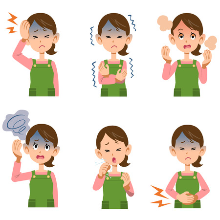 constipation symptom: Symptoms in women housewife six Illustration