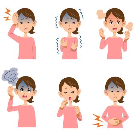 Die Symptome der kranken Frauen sechs