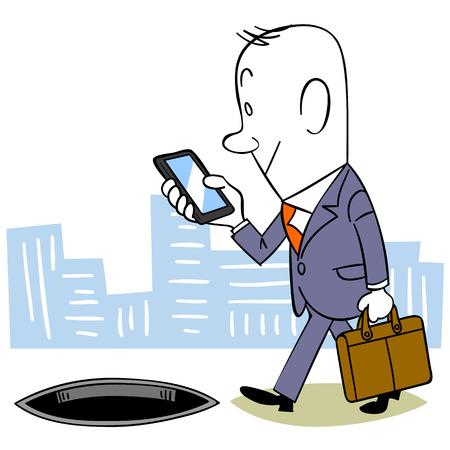 dependency: Texting while walking Illustration