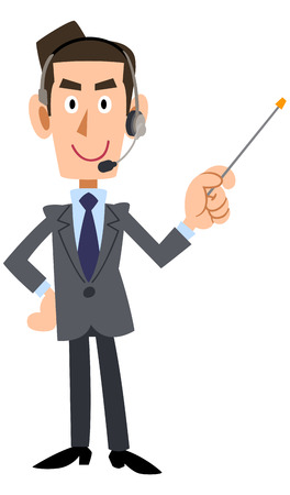 suggests: With a pointing stick businessman wearing headset