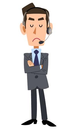 the whole body: businessman wearing headset Illustration