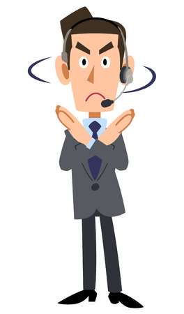 rejection: a businessman wearing headset