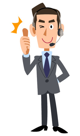 salaried worker: Thumbs up businessman wearing headset