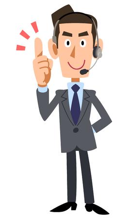 Put your index finger businessman wearing headset
