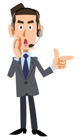 that: Businessman wearing a headset that provides information