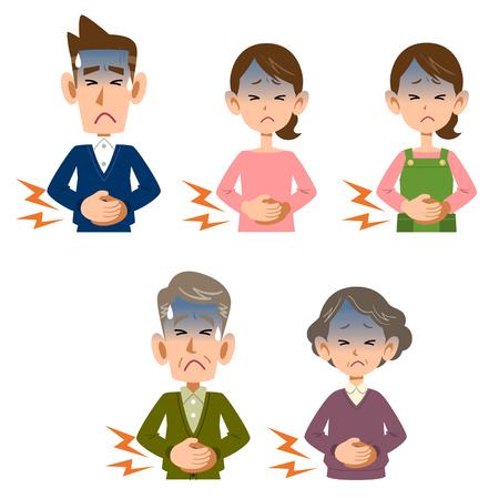 abdominal pain: Abdominal pain in men and women Illustration