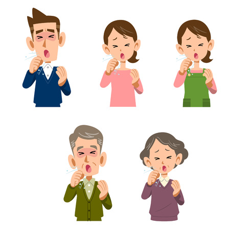 waist up: Men and women  coughing