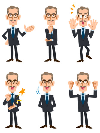 6 types of older men in suits pose and gesture