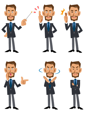 Businessman ?eta beard 6 patterns pose and gesture 矢量图像