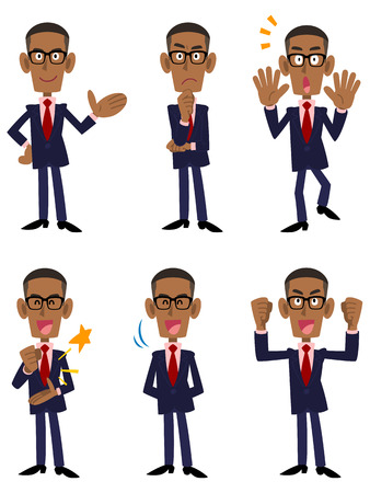 African businessman 6 patterns pose and gesture