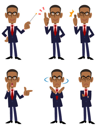 point i: African businessman 6 patterns pose and gesture