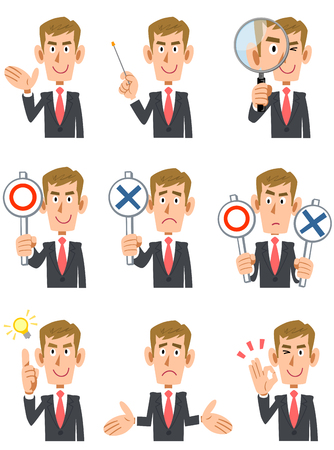 waist up: 9 types of blond men gesture and facial expression Illustration