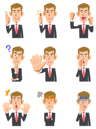 9 types of blond men gesture and facial expression 矢量图像