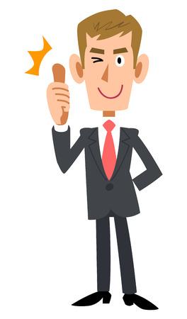 praise: Samap businessmen wearing the suit brown hair Illustration