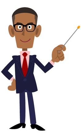 african descent: Man wearing a suit and glasses on a black stick in her hand, to explain Illustration