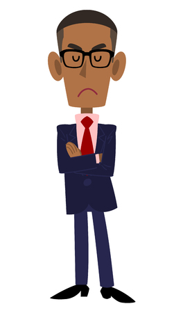 arms folded: With his arms folded and wearing a suit and glasses on black men and think