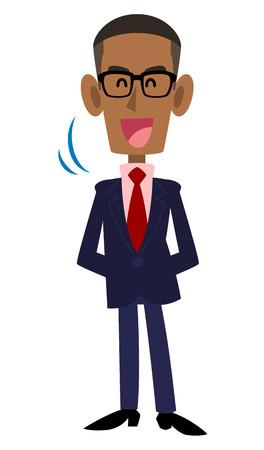 african descent: Nods and wearing a suit and glasses on black men Illustration