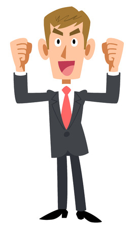 glad: Brown hair wearing the suit corporate you get excited Illustration