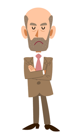 satirical: Thinking. old man expression Illustration