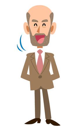 Nod. old man expression Illustration