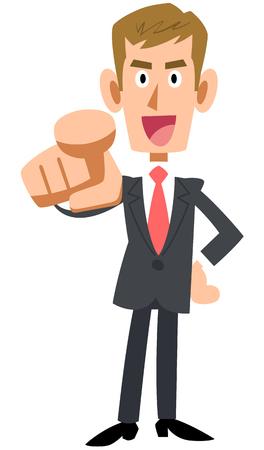 cabello rubio: señalar con el dedo. hombre trabajador. expresión