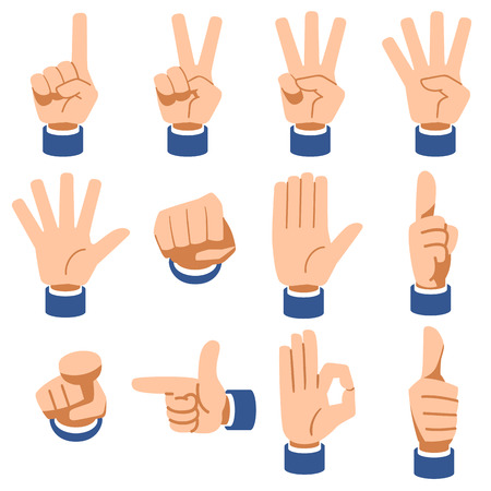 ap: The suit sleeves with hand signs Illustration