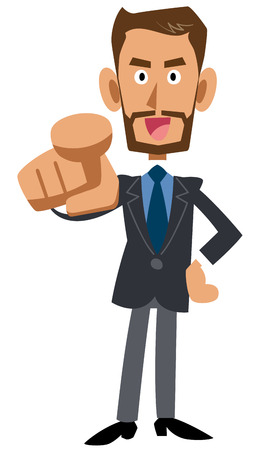 指しているひげを生やした実業家