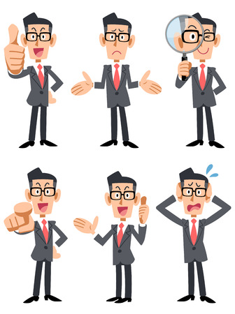 Businessman with glasses 6 patterns pose and gesture