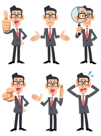 Homem negócios, com, óculos, 6, padrões, pose, e, gesto