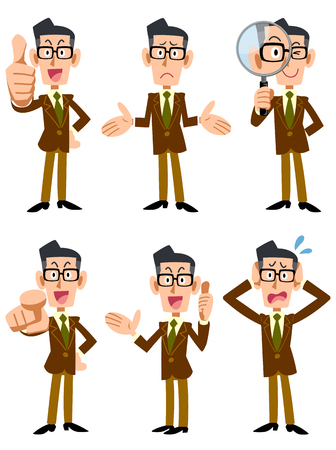 point i: 6 businessman wearing a brown jacket pose and gesture