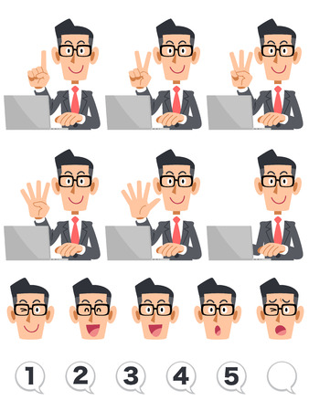 stock trader: Businessman indicating the numbers with a finger, glasses and laptop Illustration
