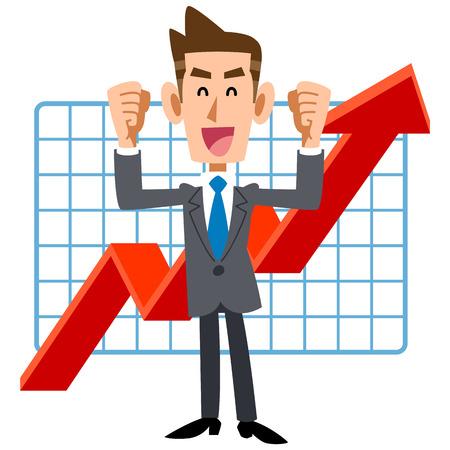 Zufrieden mit Gewinn steigt junge Unternehmer Standard-Bild - 69776062
