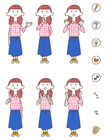 expresiones faciales: Seis gestos de mujeres jóvenes y expresiones faciales
